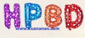 Set bong bóng kiếng chữ tắt HPBD 40cm (có nhiều màu)