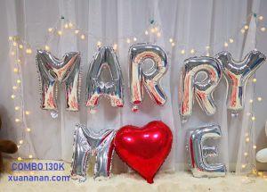 Set bong bóng kiếng chữ MARRY ME [130K]