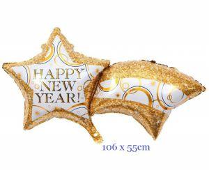 Bong bóng kiếng ngôi sao cầu vồng Happy New Year 106cm