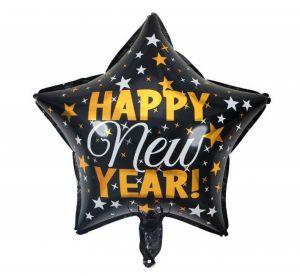 Bong bóng kiếng ngôi sao Happy New Year 45cm