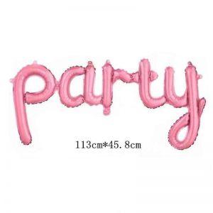 Bong bóng kiếng chữ Party 113 x 46cm (bạc/hồng)