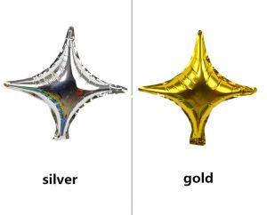 Bong bóng kiếng hình Sao 4 cánh 25cm (vàng/bạc)