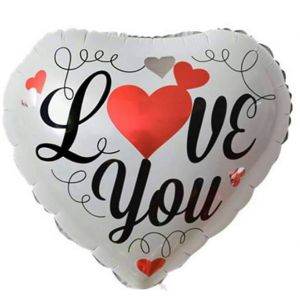Bong bóng kiếng trái tim I love you 45cm trắng