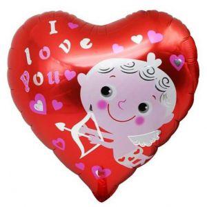 Bong bóng kiếng trái tim I love you 45cm thiên thần