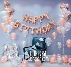 Combo trang trí sinh nhật Rosegold [265K]