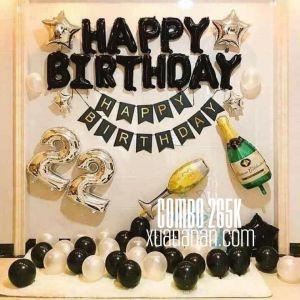 Combo trang trí sinh nhật tông màu Black & Silver [265K]