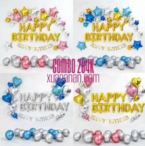 Combo trang trí sinh nhật siêu nhũ phối 3 màu [284K]