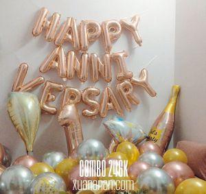 Combo trang trí tiệc kỷ niệm Happy Anniversary màu rosegold [246K]