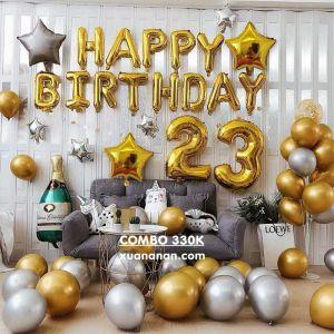 Combo trang trí sinh nhật siêu nhũ Vàng Bạc [330K]