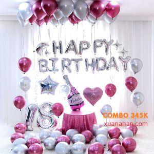 Combo trang trí sinh nhật siêu nhũ Chrome - Silver - Pink [345k]