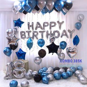 Combo trang trí sinh nhật siêu nhũ Chrome - Silver - Blue [385k]