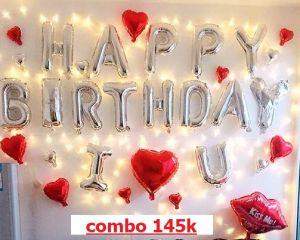 Combo trang trí sinh nhật Đỏ - Bạc [145K]
