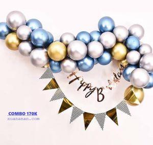 Combo trang trí sinh nhật Chrome Gold Silver Blue [170K]