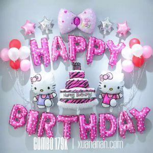 Combo trang trí sinh nhật chủ đề Kitty hồng [179K]