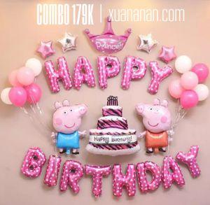 Combo trang trí sinh nhật chủ đề Peppa hồng/xanh [179K]