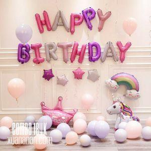 Combo trang trí sinh nhật tông Hồng Tím [184K]