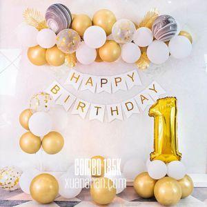 Combo trang trí sinh nhật Gold&White [185K]