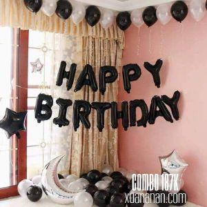 Combo trang trí sinh nhật tông màu đen trắng [187K]