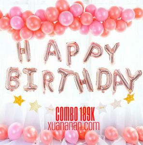 Combo trang trí sinh nhật Rosegold - Pinky [189K]