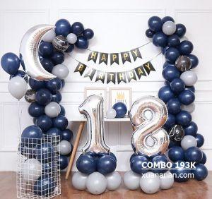 Combo trang trí sinh nhật tông Xanh Navy & Bạc [193K]