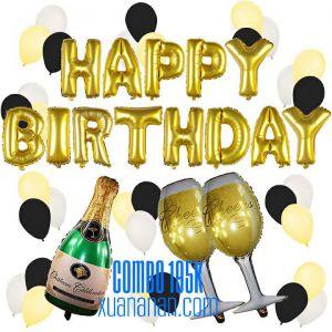 Combo trang trí sinh nhật phối tông vàng bạc đen [195K]