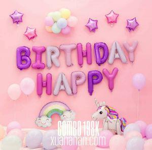 Combo trang trí sinh nhật màu Hồng - Tím [198K]