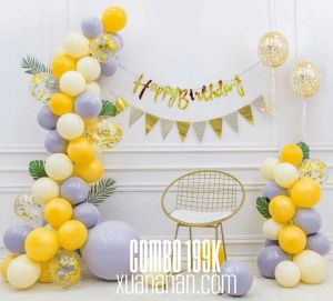 Combo trang trí sinh nhật tông màu Pastel & Gold [199K]