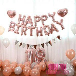 Combo trang trí sinh nhật tông màu Rosegold [206K]