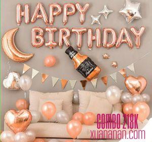 Combo trang trí sinh nhật tông màu Rosegold & Silver [218K]