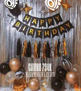 Combo trang trí sinh nhật tông Vàng-Đen [234K]