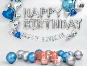 Combo trang trí sinh nhật siêu nhũ Silver - Blue [239K]