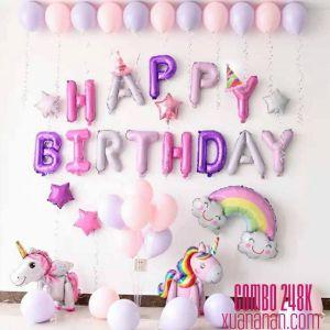 Combo trang trí sinh nhật tông hồng tím [248K]
