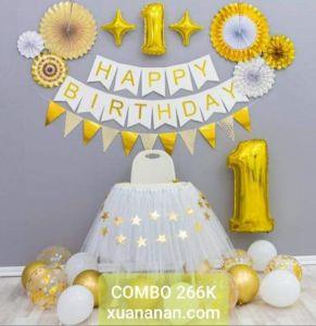 Combo trang trí sinh nhật Gold & White [266K]