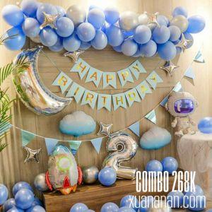 Combo trang trí sinh nhật Phi hành gia màu xanh pastel [268K]