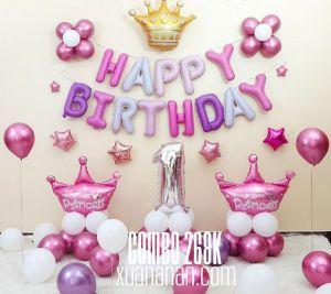Combo trang trí sinh nhật Hồng Tím [268K]