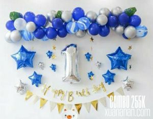 Combo trang trí sinh nhật Blue-Silver [255K]