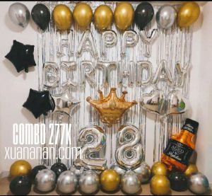 Combo trang trí sinh nhật siêu nhũ Vàng-Bac-Đen [277k]