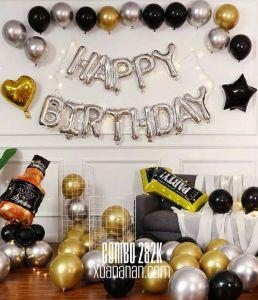 Combo trang trí sinh nhật Gold-Silver-Black [282K]