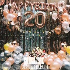 Combo trang trí sinh nhật tông màu Rosegold [290K]