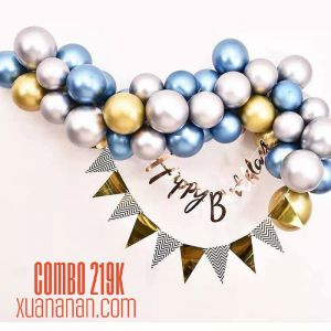 Combo trang trí sinh nhật Chrome Gold Silver Blue [219K]