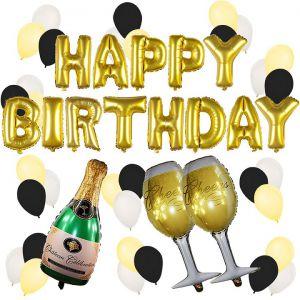 Combo trang trí sinh nhật phối tông vàng bạc đen cực đẹp [228K]