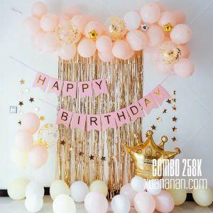 Combo trang trí sinh nhật tông màu Gold - Pink [258K]