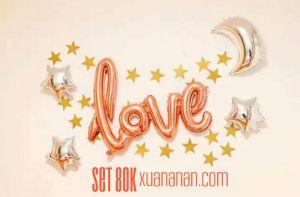 Set bong bóng kiếng chữ Love & Ngôi sao (tặng keo dán)