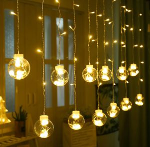 Dây đèn rèm hình cầu màu vàng ấm