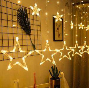 Dây đèn rèm ngôi sao màu vàng ấm
