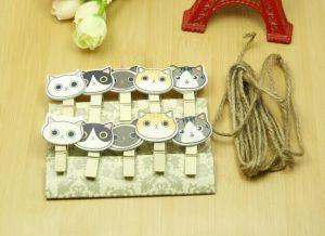 Set 10 kẹp gỗ dây treo hình Mèo