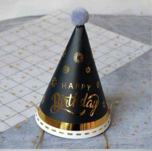 Nón HPBD chủ tiệc màu đen viền gold