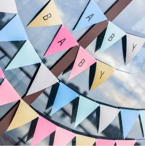 Banner tam giác + sticker A-Z làm dây chữ tùy ý (Xanh/Hồng)