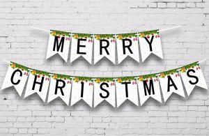 Dây chữ Merry Christmas đuôi cá trắng đen