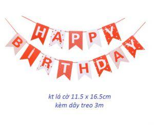 Dây chữ Happy Birthday đuôi cá màu đỏ